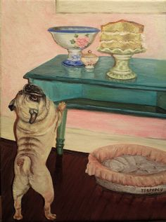 """Pug painting is an original oil painting entitled """"Buck wants Cake""""...for obvious reasons by PetrocyStudios on Etsy https://www.etsy.com/listing/152394215/pug-painting-is-an-original-oil-painting"""