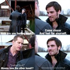Hook and Charming: it's like charming hates him cuz of the chemistry he has with his daughter. Charming is such a dad haha