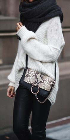Chunky knit sweater.