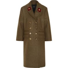 Gucci Double-breasted appliquéd wool coat (£2,440) ❤ liked on Polyvore featuring outerwear, coats, jackets, gucci, coats & jackets, double-breasted wool coat, brown double breasted coat, embroidered coat, wool coat and military wool coat