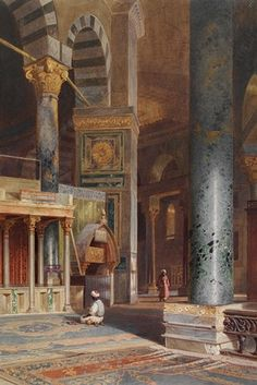 Drawings of Islamic Buildings - Victoria and Albert Museum Carl Werner, Interior of the Dome of the Rock, Jerusalem, watercolour, Museum no. Islamic Architecture, Art And Architecture, Carl Friedrich, Dome Of The Rock, Arabian Art, Islamic Paintings, Exotic Art, Turkish Art, Arabian Nights