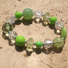 Spring green and crystal bracelet bright green bracelet by Aranji, $15.00