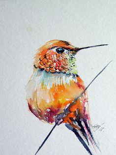 Hummingbird - Watercolor Painting - Kovacs Anna Brigitta