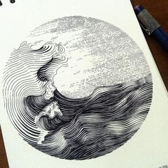 Indonesian Artist Muthahari Insani, is an extremely capable artist, that manages to inject a huge amount of detail in his beautifully flowing ink drawings and doodles We have included in this post, a sample of the various techniques, Insani utilises - p Art And Illustration, Ink Illustrations, Landscape Illustration, Kunst Inspo, Art Inspo, Kritzelei Tattoo, Tattoo Wave, Posca Art, Drawn Art