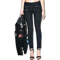Five Zip Skinny Jeans (£35) ❤ liked on Polyvore featuring jeans, distressed denim jeans, denim jeans, distressed jeans, ripped jeans and dark denim jeans