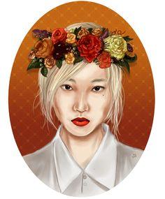"""Prace z wystawy Dagmary Rzadkowskiej w Galerii Na Piętrze, styczeń 2015  Park Soojoo """"Autumn Lady"""" - semi-realism digital portrait by Das (2014)"""