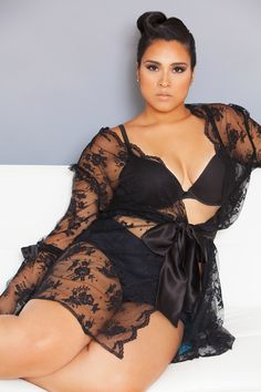 The Sonatine Robe, Intimates Plus  Sultry, sophisticated, lace robe- it's all in the detail! Gorgeous