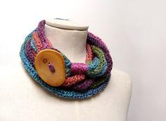 Loop Infinity Scarf Necklace Knitted Scarlette Neckwarmer by ixela, $38.00