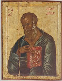 The Holy & Glorious Apostle John The Theologian, son Of Zebedee, Son Of Thunder, and Beloved Of The Lord. Byzantine Icons, Byzantine Art, Religious Icons, Religious Art, John The Evangelist, Russian Icons, Religious Paintings, Best Icons, Art Icon