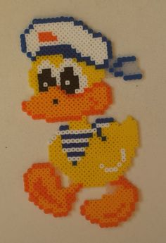 Week 17, Day 116, Bird, Duck.  Done in mini beads.  365 Day Perler Bead Challenge.