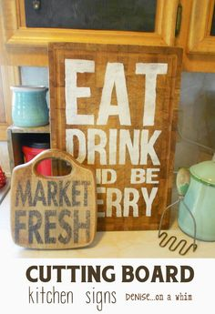 PHOTO of stuff and typography over Garage Sale Cutting Boards Find New Life as Kitchen Signs via Denise on a Whim. Shadow Box Shelves, Wood Shadow Box, Wood Crafts, Diy Crafts, Garage Sale Finds, Kitchen Signs, Diy Kitchen, Vintage Kitchen, Diy Cutting Board