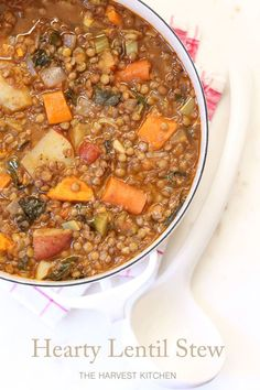 from The Harvest Kitchen / this humble Hearty Lentil Stew is quick and easy to make, has a great combo of flavors - and I serve with quinoa and garnish with caramelized onions. A really tasty and nutritious one-pot wonder! Healthy Eating Recipes, Vegetarian Recipes, Cooking Recipes, Cooking Rice, Oven Recipes, Vegetarian Stew Crockpot, Healthy Meals, Quick Vegetarian Dinner, Greek Cooking