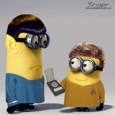 """""""Beam me up"""" Minions Captain Kirk and Spock"""