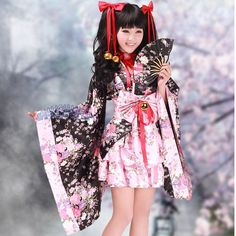 Halloween costumes for women anime kimono maid cosplay costume Bow pink Cherry blossom evening party lolita dresses with Bells Anime Kimono, Maid Cosplay, Lolita Cosplay, Cosplay Dress, Costume Dress, Japanese Street Fashion, Asian Fashion, Visual Kei, Fancy Dress