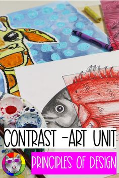 Principles of Design: Contrast, Art Unit Principles Of Design Contrast, Elements And Principles, Elements Of Art, Haring Art, Keith Haring, Art Room Doors, Contrast Art, Back To School Art, 7th Grade Art