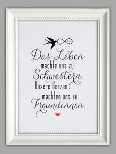 """""""SCHWESTERH"""" Kunstdruck Geschenk für die Schwester von Smart-Art Kunstdrucke auf DaWanda.com"""