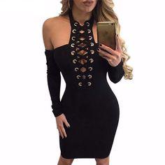 Black Halter Lace Up Off Shoulder Women Bodycon Dress | Daisy Dress for Less | Women's Dresses & Accessories