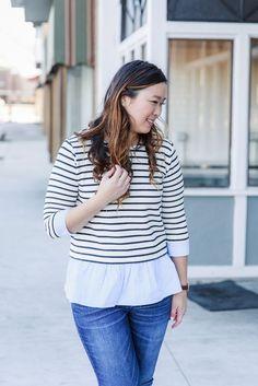 Stripes and pom pom shoes | spring style | spring fashion | styling for spring | fashion ideas for spring | warm weather fashion | casual style | fashion for busy moms || Sandy A La Mode