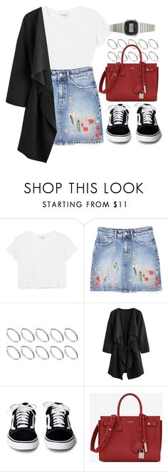 """Denim Skirt"" by vany-alvarado ❤ liked on Polyvore featuring Monki, MANGO, ASOS, Yves Saint Laurent and Casio"