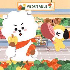 Cute Cartoon Drawings, Cute Animal Drawings, Kookie Bts, Bts Jin, Bts Chibi, Boy Scouts, Seokjin, Hoseok, The Scene