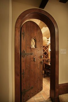White Oaks Renovation - traditional - wine cellar - minneapolis - Murphy & Co. Wine Cellar Basement, Castle Doors, Home Wine Cellars, Wine Cellar Design, Log Home Decorating, Cool Doors, Traditional Doors, Mediterranean Home Decor, Rustic Doors