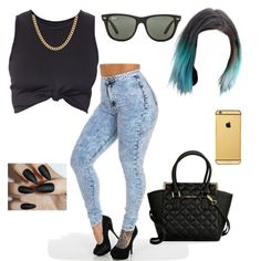 blue hair by ntopps on Polyvore featuring polyvore fashion style Calvin Klein Sterling Essentials Goldgenie Ray-Ban