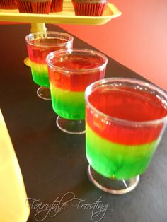 My jello shots would have even proportions of red yellow and green, and clearly would be alcoholic! haha