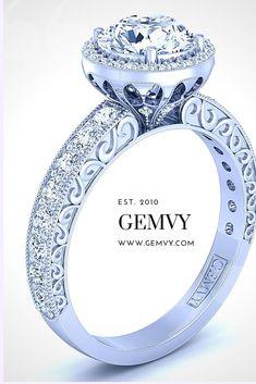 ROUND HALO DIAMOND ENGAGEMENT RING 1538-SP1 Round Diamond Engagement Rings, Three Stone Engagement Rings, Designer Engagement Rings, Vintage Engagement Rings, Selling Jewelry, Vintage Diamond, Fine Jewelry, Jewellery, Fairytale Weddings