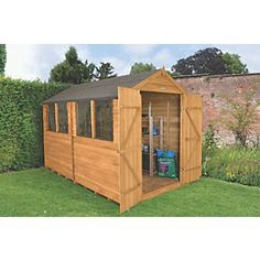 Order online at Screwfix.com. Overlap apex wooden shed with 4 x windows to let in plenty of natural light. Features double doors for easy access, ideal for storing larger items or perfect for use as a workshop or hobby room. Manufactured from square-cut overlap timber boards, helping rain water run off the building and allowing flexibility and movement. The felted roof is constructed from weatherproof, durable sheet material. Sturdy door is braced with double-Z framing for added strength and…