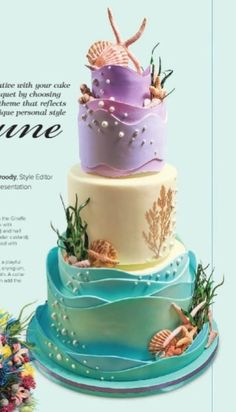 """Sand and Surf Inspiration Challenge - baker was given the theme """"beach"""" and other than that, baker had total creative freedom! The starfish, seaweed and shells are all gumpaste. And the coral is stenciled. Pretty Cakes, Cute Cakes, Beautiful Cakes, Amazing Cakes, Beach Themed Cakes, Beach Cakes, Ocean Cakes, Nautical Cake, Mermaid Cakes"""