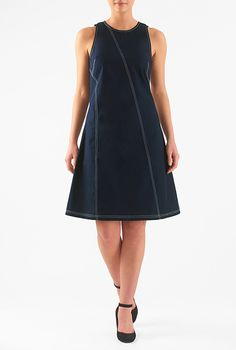 I <3 this Seamed cotton poplin shift dress from eShakti