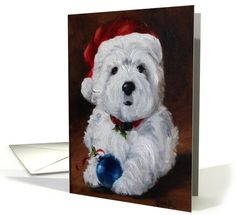 Dogs card: Christmas Holidays - Westie West Highland Terrier Dog Greeting Card by Mary Sparrow Smith
