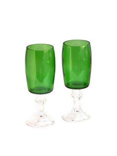 Perrier Bottle Elegant Redneck Stemmed Wine Glasses. $19.99, via Etsy.