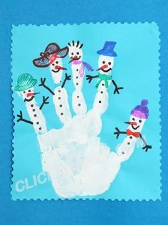 Handprint Snowmen Craft - Handmade Christmas Ornament Ideas for Kids