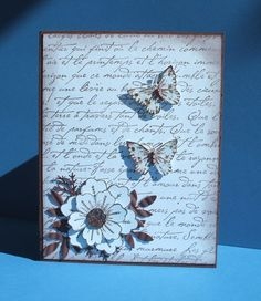 Stamps: SU French script, bugs n slugs, Fun stampers journey spring garden Paper: chocolate chip, bashful blue Ink: chocolate chip Accessories: leaf punches, sponging, crimper, pearls, stickles