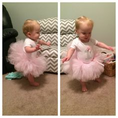 diy first birthday outfit: no sew tutu and a onesie decorated with iron-on letters