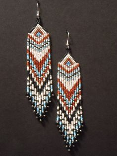 Silver and Turquoise Native Inspired Seed Beaded by BlueTurtleMade