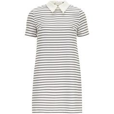 Alice & You Pointed Collar Stripe Dress (365 UYU) ❤ liked on Polyvore featuring dresses, vestidos, multi, stripe dress, short-sleeve dresses, short sleeve dress, short sleeve shift dress and short-sleeve shift dresses
