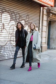 two by two. Binx & HGO kickin it #offduty in NYC. #BinxWalton #HanneGabyOdiele
