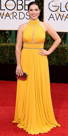 Golden Globes 2016: America Ferrera in Jenny Packham with Simon G jewelry and Brian Atwood shoes.