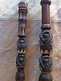 Hand-carved walking sticks