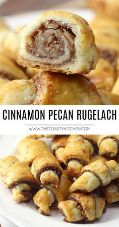 Cinnamon Pecan Rugelach recipe - by The Toasty Kitchen. Cinnamon pecan rugelach are buttery, flaky crescent-shaped pastries filled with a sweet pecan filling. Perfect for your next holiday cookie tray! #cookies #rugelach #pastry #cinnamon #cinnamonpecan #jewish #crescentcookie #homemade #pecans #hanukkah #roshhashana #recipe Kitchen Recipes, Baking Recipes, Cookie Recipes, Dessert Recipes, Gluten Free Desserts, Delicious Desserts, Rugelach Recipe, Crescent Cookies, Recipe Maker