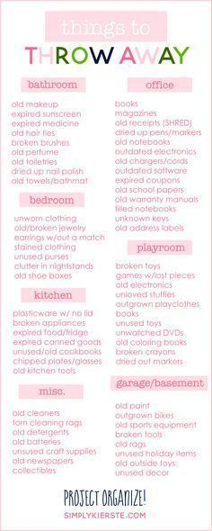 A great room-by-room list of things to throw away to help your home feel clean and uncluttered! It will make all the difference!