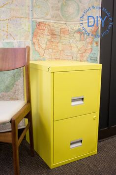 I have a black filing cabinet that needs a makeover- DIY Painted Filing Cabinet | The Girl Who Made It