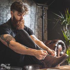 Sam Martin - full thick dark red beard mustache bushy beards bearded man men mens' style bearding tattoos tattooed haircut hair styles ginger redhead auburn #beardsforever