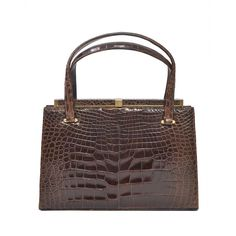 Lucille de Paris Brown Alligator Handbag | From a collection of rare vintage top handle bags at https://www.1stdibs.com/fashion/handbags-purses-bags/top-handle-bags/