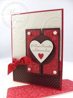 Love the red and brown together on this beautiful handmade valentine card!