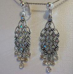 Clip on Non Pierced Rhinestone Dangle Earrings $5.99