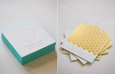 Chris Ching Jewelry Business Cards by Akula Kreative // gold foil stamp with aqua edge paint