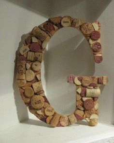 Items similar to Custom Wine Cork Letter - G on Etsy Cork Crafts, Crafts To Do, Arts And Crafts, Diy Crafts, Wine Cork Letters, Big Letters, Wine Theme Kitchen, Kitchen Decor, Craft Projects